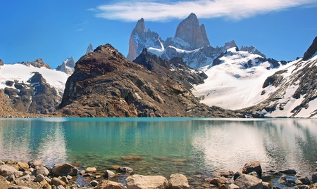 beautiful mountain lake scenery with mt fitz roy photo
