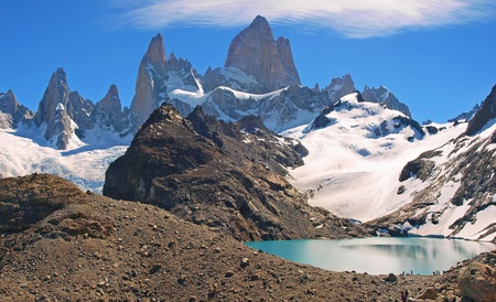 campo de hielo sur: beautiful lake of the three with fitz roy mt in the background as seen in patagonia, argentina