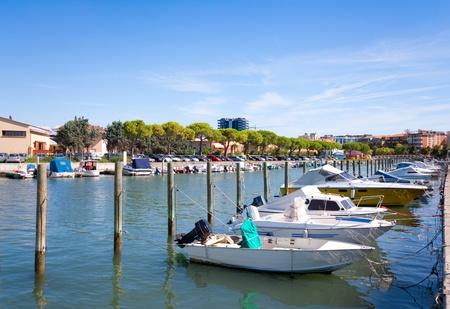 fishing cabin: Boats in the city center of Grado, Italy.