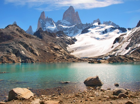 lake argentina: beautiful laguna de los tres with mt fitz roy in the background as seen in patagonia, argentina.