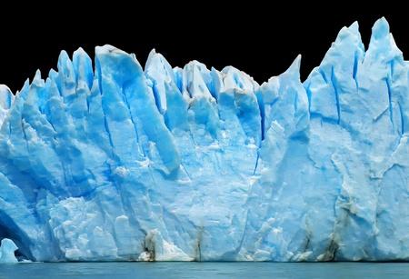 icefield: blue icebergs isolated on black