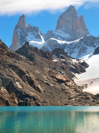 mountaintops: beautiful laguna de los tres with mt fitz roy in the background as seen in patagonia, argentina.