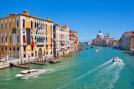 grand canal with santa maria della salute basilica in the background as seen from the accademia bridge, venice, italy photo