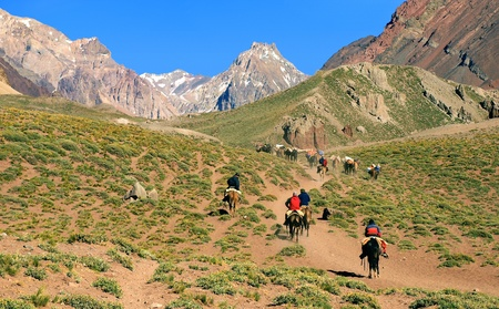 el chalten: beautiful mountain landscape near aconcagua with hikers in front trekking as seen in argentina, south america. Stock Photo