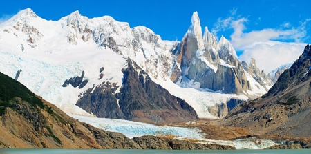 aconcagua: Mountain panorama with Cerro Torre as seen in Patagonia, Argentina, Stock Photo