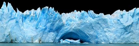 moreno glacier: panorama of blue icebergs isolated on black