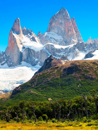 horcones: Nature Landscape with Mt. Fitz Roy in Patagonia, Argentina