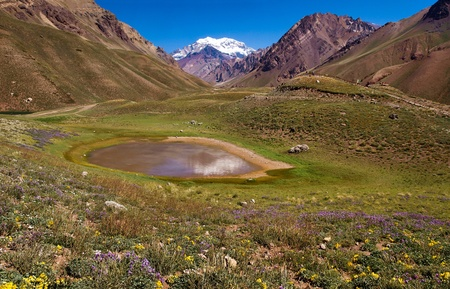 Beautiful nature landscape with famous Aconcagua in the background as seen in Aconcagua National Park, Argentina, South America. photo