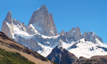 horcones: Summit of famous Mt. Fitz Roy in Patagonia, Argentina Stock Photo