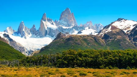 horcones: Beautiful Nature Landscape with Mt. Fitz Roy in Los Glaciares National Park, Patagonia, Argentina.