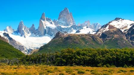 los glaciares: Natura Paesaggio bellissimo con il Monte. Fitz Roy nel Parco Nazionale Los Glaciares, Patagonia, Argentina.