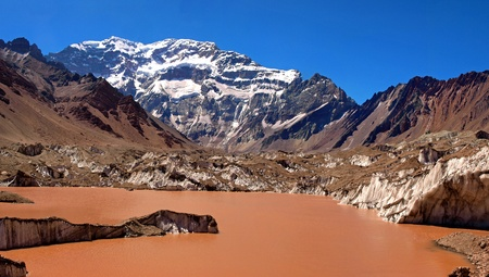 campo de hielo sur: Aconcagua as seen in Aconcagua National Park, Argentina          Stock Photo
