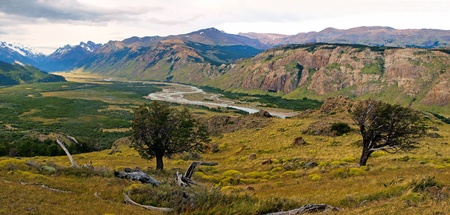 Beautiful nature landscape panorama in Los Glaciares National Park, Argentina photo