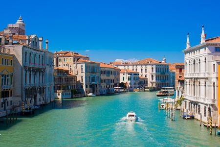 Famous Canal Grande in Venice, Italy as seen from Ponte dell'Accademia