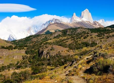 horcones: Natura Paesaggio Bella con il monte. Fitz Roy nel Parco Nazionale Los Glaciares, Patagonia, Argentina. Archivio Fotografico
