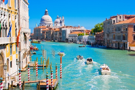 Canal Grande with Basilica Santa Maria della Salute in the background as seen from Ponte dell�Accademia, Venice, Italy photo