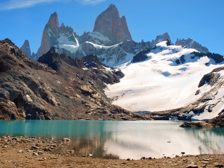 Beautiful Laguna de Los Tres with Mt Fitz Roy in the background as seen in Los Glaciares National Park, Argentina photo