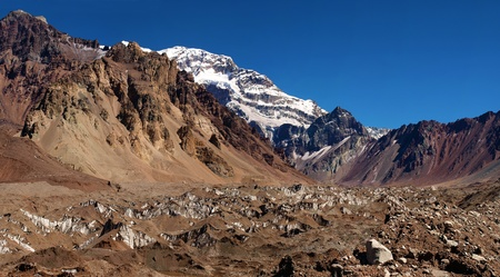 mountaintops: Famous Aconcagua as seen in Aconcagua National Park, Argentina          Stock Photo