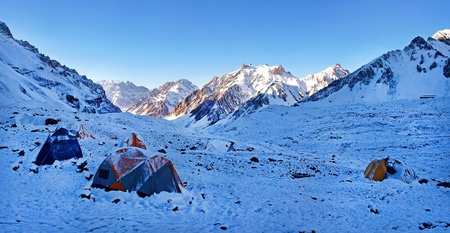 Mountain high camp in the Himalayas at sunrise   photo