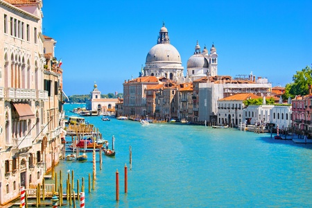 Canal Grande with Basilica Santa Maria della Salute in the background as seen from Ponte dell�Accademia, Venice, Italy