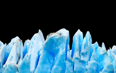campo de hielo sur: Icebergs isolated on black Stock Photo