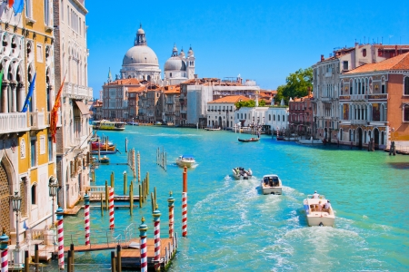Canal Grande with Basilica Santa Maria della Salute in the background as seen from Ponte dell Accademia, Venice, Italy Stock Photo