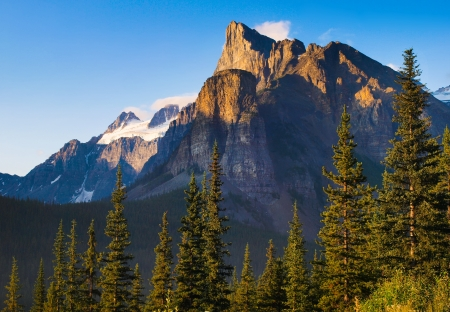 Canadian wilderness with Rocky Mountains at sunset as seen in Banff National Park, Alberta, Canada photo