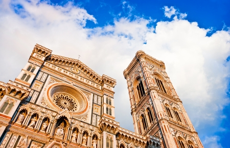 cattedrale: Florence Cathedral with Giotto s Campanile at sunset on Piazza del Duomo in Florence, Italy Stock Photo