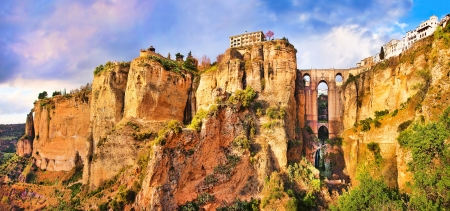 andalucia: Panoramic view of the old city of Ronda, one of the famous white villages, at sunset in the province of Málaga, Andalusia, Spain