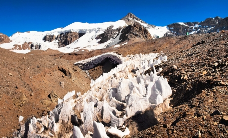 top seven:  Ice formations at Aconcagua summit in Mendoza, Argentina, South America Stock Photo