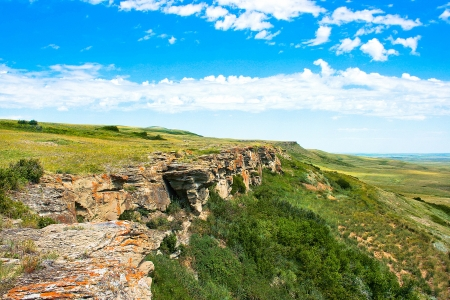 Canadian prairie at Head-Smashed-In Buffalo Jump in Alberta, Canada