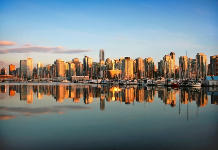 Vancouver downtown skyline panorama at sunset