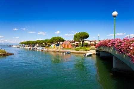 Beautiful scene in the city center of Grado, Italy photo