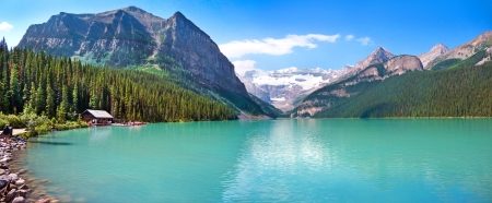 banff national park: Lake Louise mountain lake panorama in Banff National Park, Alberta, Canada Stock Photo