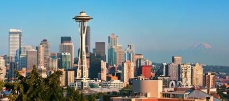 seattle: Seattle skyline panorama al atardecer, visto desde Kerry Park, Seattle, WA