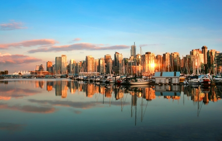 canada: Vancouver skyline panorama at sunset