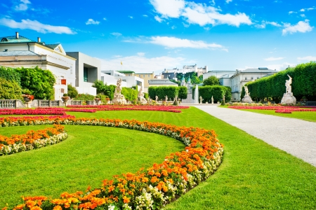 Famous Mirabell Gardens with Fortress Hohensalzburg in the background in Salzburg, Austria Stock Photo - 15022980