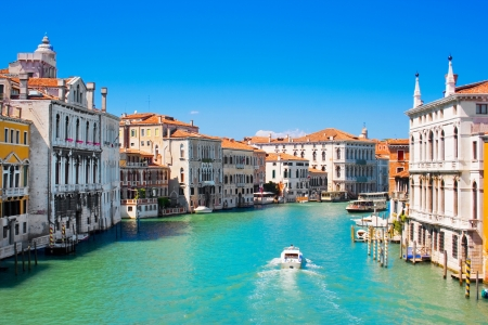Famous Canal Grande in Venice, Italy as seen from Ponte dell Stock Photo
