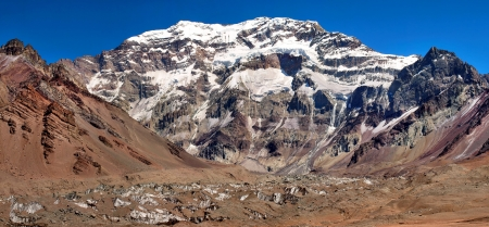 top seven: Mountain panorama of Aconcagua, the highest mountain in South America, as seen from South Side, Mendoza, Argentina
