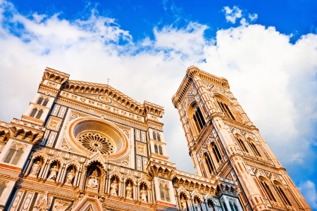 bell tower: Florence Cathedral with Giotto s Campanile at sunset on Piazza del Duomo in Florence, Italy Stock Photo