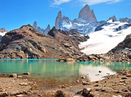 Mountain landscape with Mt Fitz Roy and Laguna de Los Tres in Los Glaciares National Park, Patagonia, Argentina, South America Stock Photo - 16126266