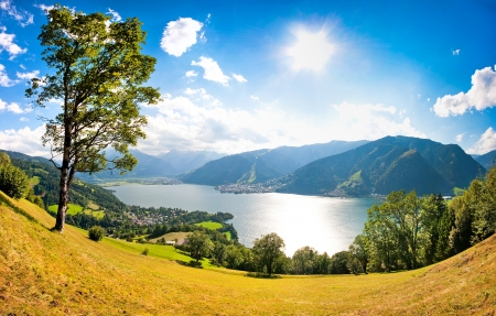 kaprun:  Panoramic view of the city of Zell am See with Zeller Lake in Salzburg, Austria
