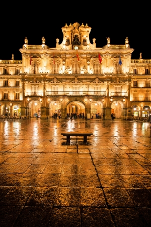spanish culture: Famous Plaza Mayor in Salamanca at night