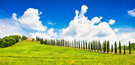 val d'orcia: Beautiful Tuscany landscape with typical farm house on a hill in Val d Orcia, Italy  Stock Photo