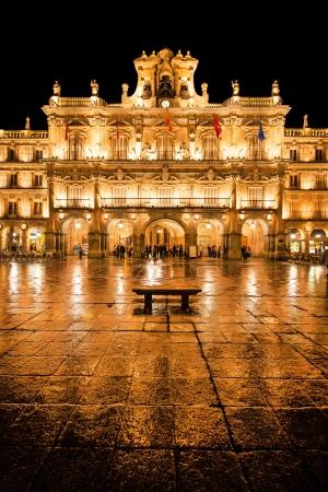 Beroemde Plaza Mayor in Salamanca 's nachts Stockfoto - 16781854