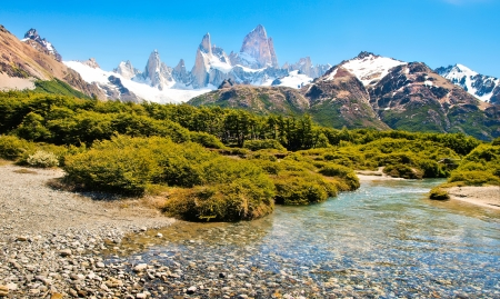 torres del paine: Beautiful landscape with Mt Fitz Roy in Patagonia, South America