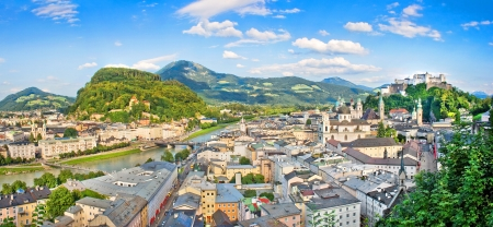 Panoramic view of the city of Salzburg, Austria photo