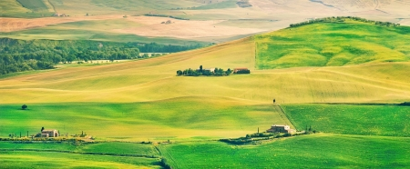 panoramics: Tuscany landscape panorama at sunset, Val d Orcia, Italy