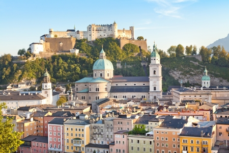 City of Salzburg at sunset, Salzburger Land, Austria Stock Photo