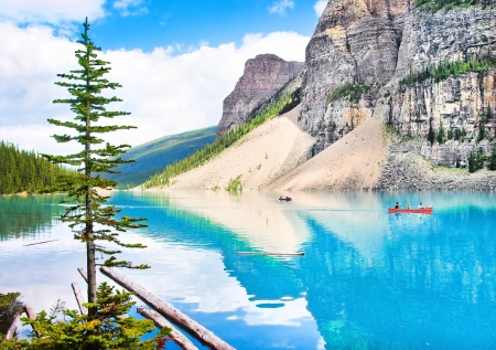 Beautiful mountain lake in Alberta, Canada photo